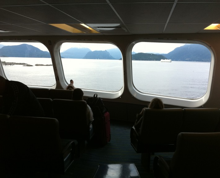 Riding on the ferry to Vancouver Island