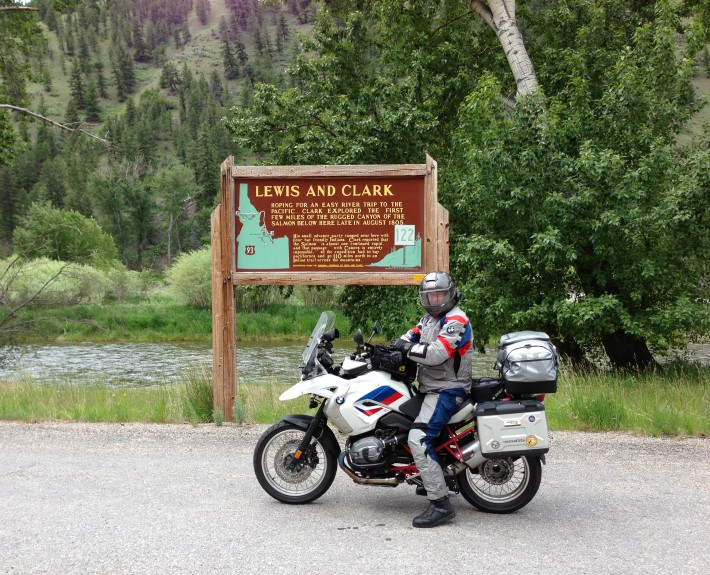 Dwayne on his BMW Motorcycle along the Salmon River