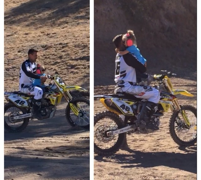 Pink's daughter gets a ride from her Dad Carey Hart on his motorcycle