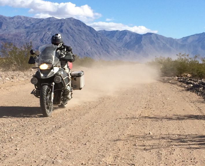 Mike riding the west side road in Death Valley