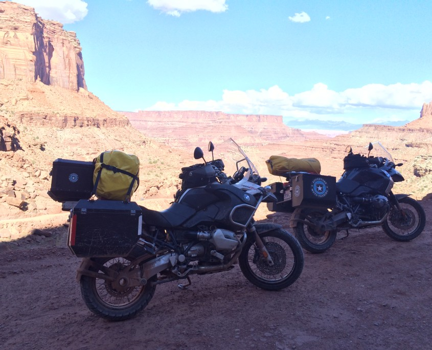 Adventure Motorcycle Touring the Shafer Trail in Moab